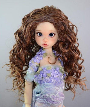 "ZaZou Luxury Collection ""Fun Ringlets"" Brown Wig for 18"" BJD Kaye Wiggs"