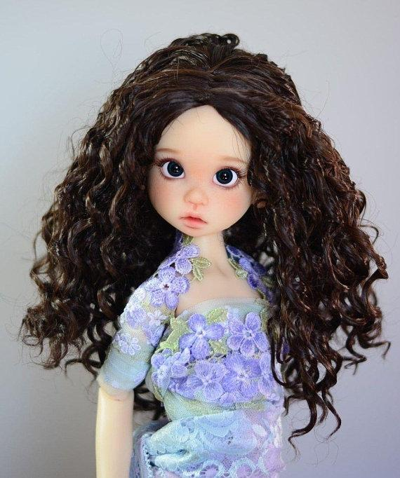 "ZaZou Luxury Collection ""Fun Ringlets"" Dark Brown Wig for 18"" BJD Kaye Wiggs"