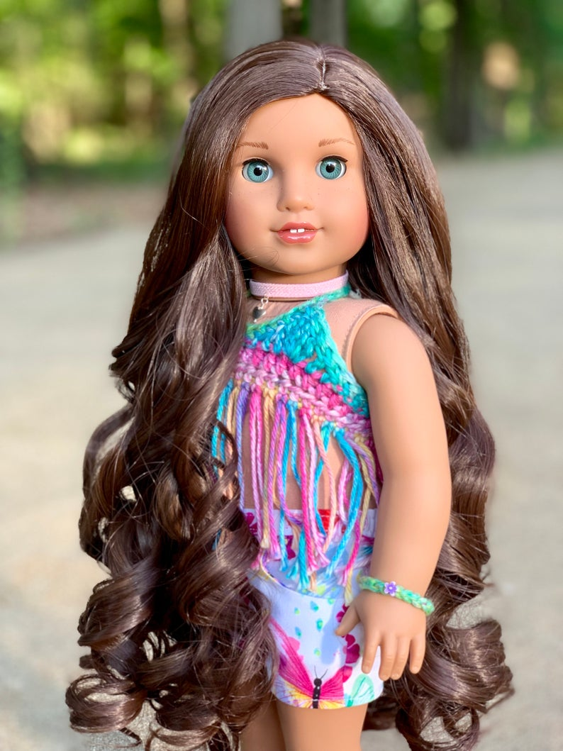 Zazou Dolls Exclusive Majesty WIG  Natural Brown for 18 Inch dolls such as  OG and American Girl