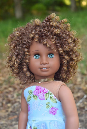 PREORDER: Zazou Dolls Exclusive BohoChic WIG Mocha for 18 Inch dolls such as OG and American Girl