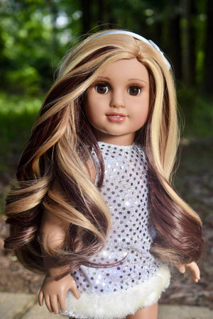 Zazou Dolls Exclusive Lovely WIG Caramel Latte for 18 Inch dolls such as OG and American Girl