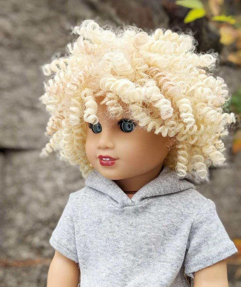 Zazou Dolls Exclusive BohoChic WIG Curly Fries for 18 Inch dolls such as OG and American Girl