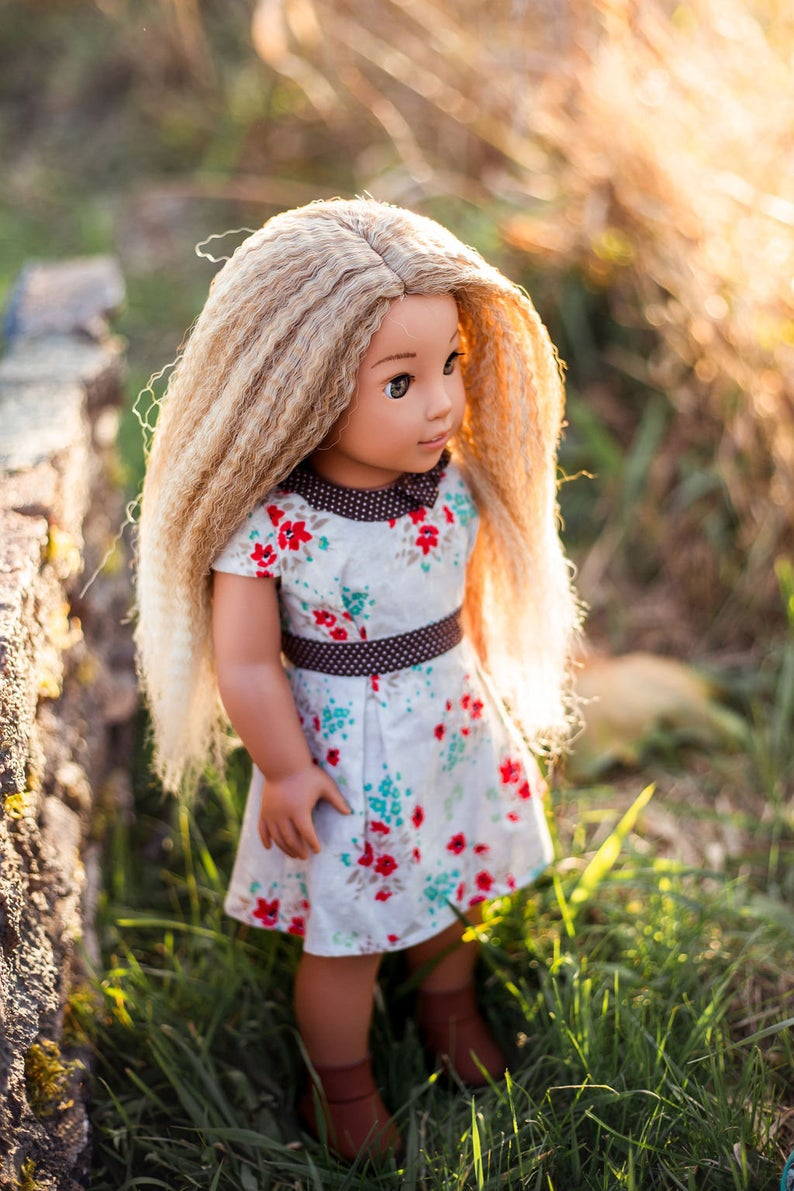 Zazou Dolls Exclusive Dyed ombre Textured Blonde WIG for 18 Inch dolls such as Our Generation, Journey Girls and American Girl