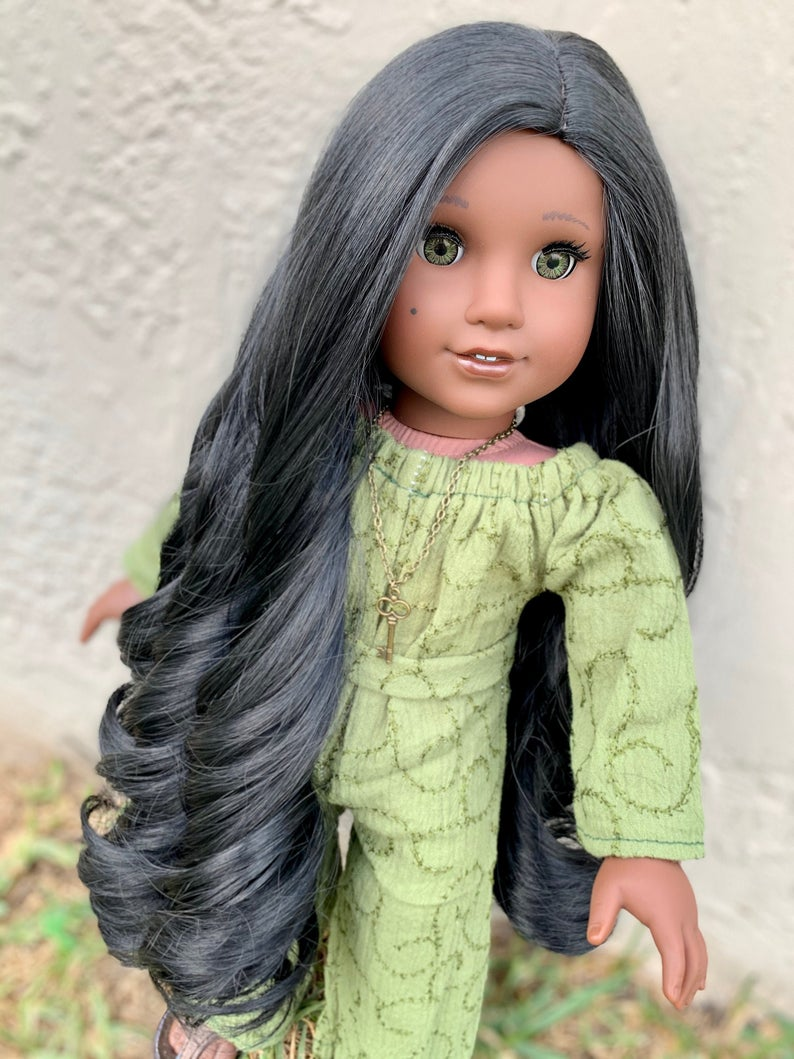 Zazou Dolls Exclusive Cafe Noir WIG for 18 Inch dolls such as Our Generation, Journey Girls and American Girl Pocahotas, Jasmine and Josefina