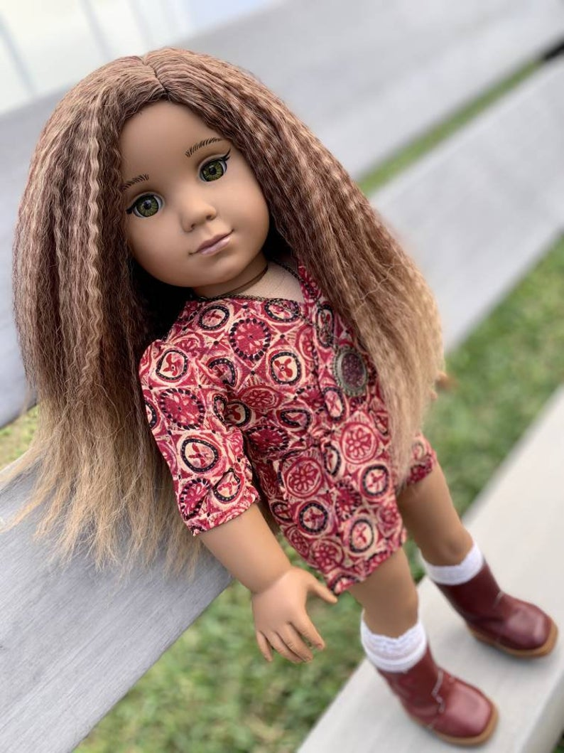 Zazou Dolls Exclusive Textured WIG Caramel Mocha for 18 Inch dolls such American Girl AA!!