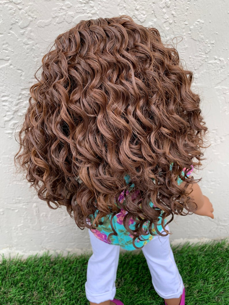Zazou Dolls Exclusive Chocolate Swirls WIG for 18 Inch dolls such as Our Generation, Journey Girls and American Girl  Pre order