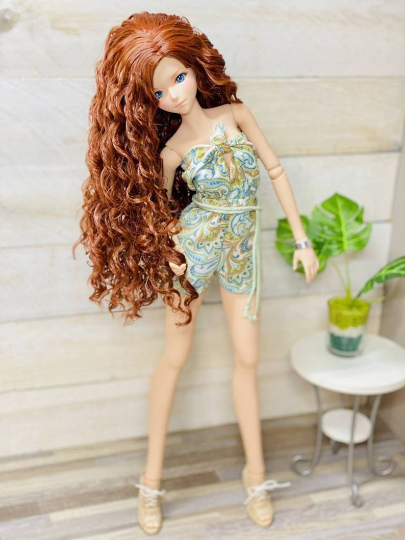 "ZaZou Luxury Scarlett WIG for Smart Doll, Ruby Red Fashion Friends, 18"" MSD BJD Kaye Wiggs"