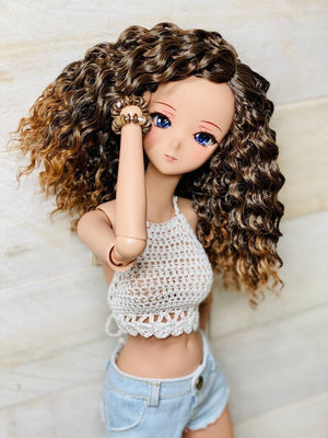 "ZaZou Luxury Tawny WIG for Smart Doll, Ruby Red Fashion Friends, 18"" MSD BJD Kaye Wiggs"