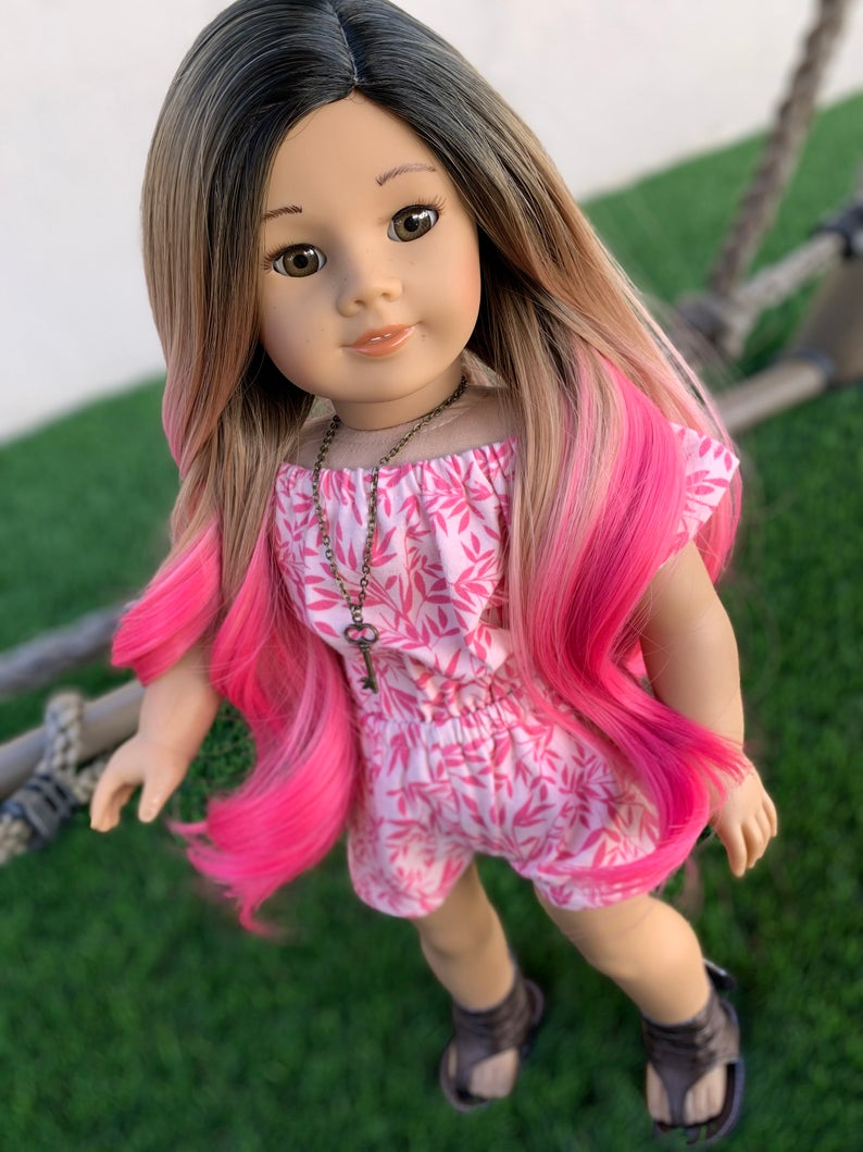 Zazou Dolls Exclusive Dyed Ombre WIG for 18 Inch dolls such as Our Generation, Journey Girls and American Girl