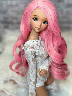 "ZaZou Luxury Bubblegum Pink WIG for Smart Doll, Ruby Red Fashion Friends, 18"" MSD BJD Kaye Wiggs"