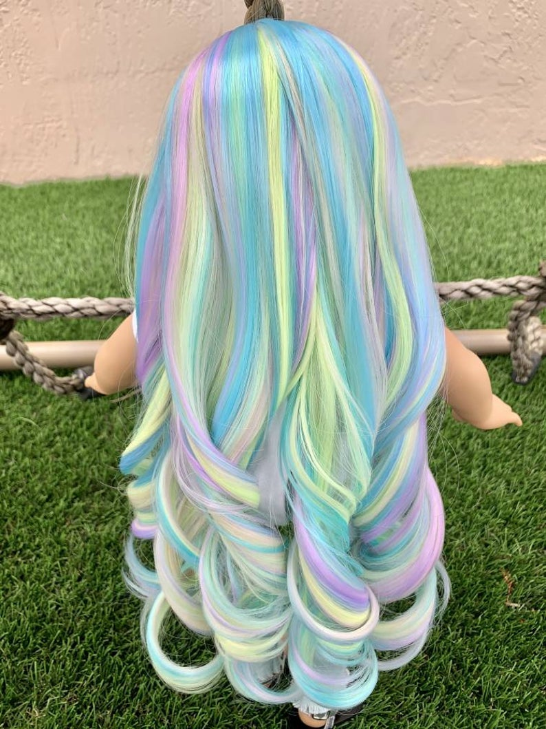 Zazou Dolls Exclusive Unicorn Sherbert WIG for 18 Inch dolls such as Our Generation, Journey Girls and American Girl