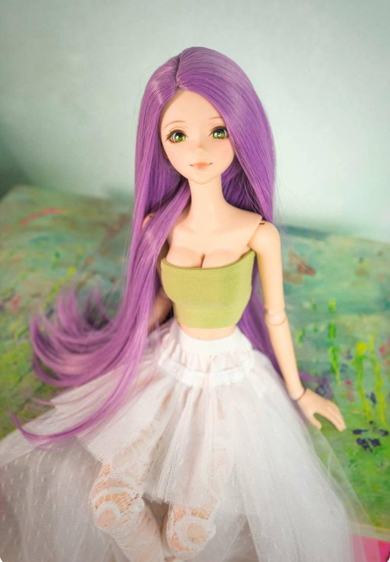 "ZaZou Luxury Amethyst WIG for Smart Doll, Ruby Red Fashion Friends, 18"" MSD BJD Kaye Wiggs"