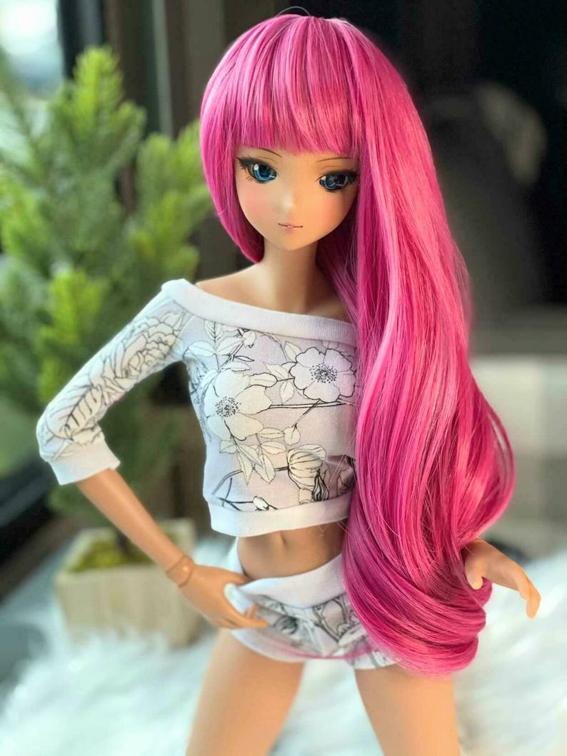 "ZaZou Luxury Strawberry Shortcake WIG for Smart Doll, Ruby Red Fashion Friends, 18"" MSD BJD Kaye Wiggs"