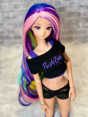 "ZaZou Luxury Over the Rainbow WIG for Smart Doll, Ruby Red Fashion Friends, 18"" MSD BJD Kaye Wiggs"