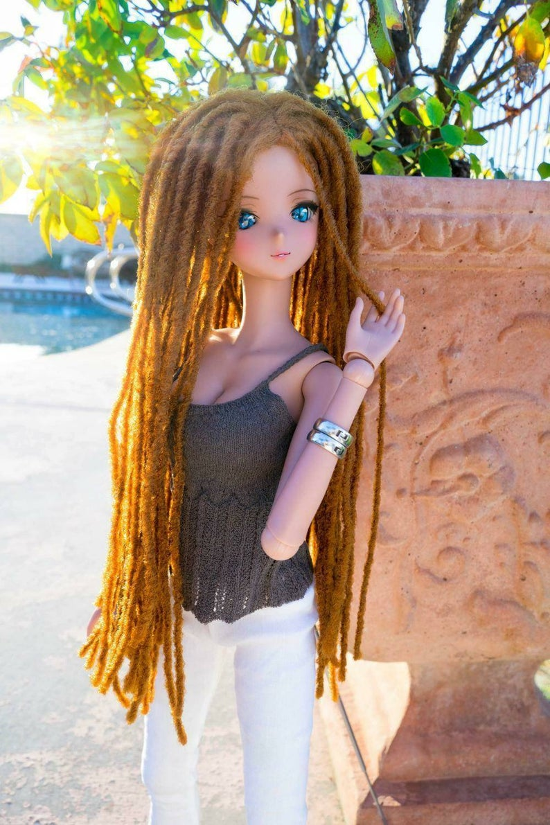 "ZaZou Luxury Caramel Locs WIG for Smart Doll, Ruby Red Fashion Friends, 18"" MSD BJD Kaye Wiggs"