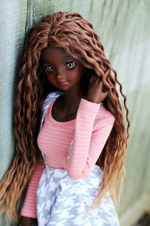 "ZaZou Luxury Pecan Pie Crochet Braids WIG for Smart Doll, Ruby Red Fashion Friends, 18"" MSD BJD Kaye Wiggs"