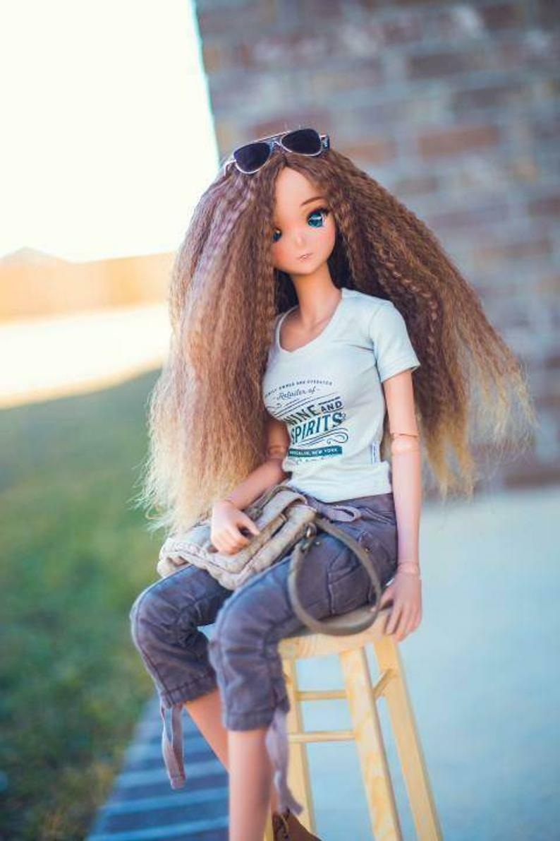 "ZaZou Luxury Almond Spice Textured WIG for Smart Doll, Ruby Red Fashion Friends, 18"" MSD BJD Kaye Wiggs"