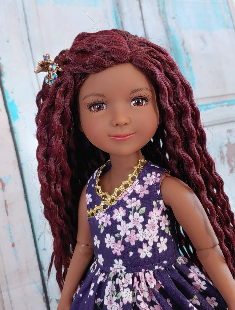 "ZaZou Luxury Red Envy Crochet Braids WIG for Smart Doll, Ruby Red Fashion Friends, 18"" MSD BJD Kaye Wiggs"