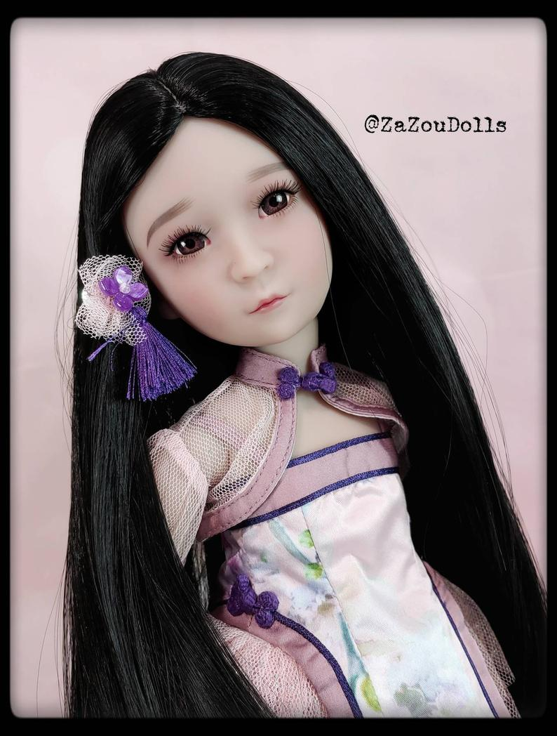 "ZaZou Luxury Black Abyss WIG for Smart Doll, Ruby Red Fashion Friends, 18"" MSD BJD Kaye Wiggs"