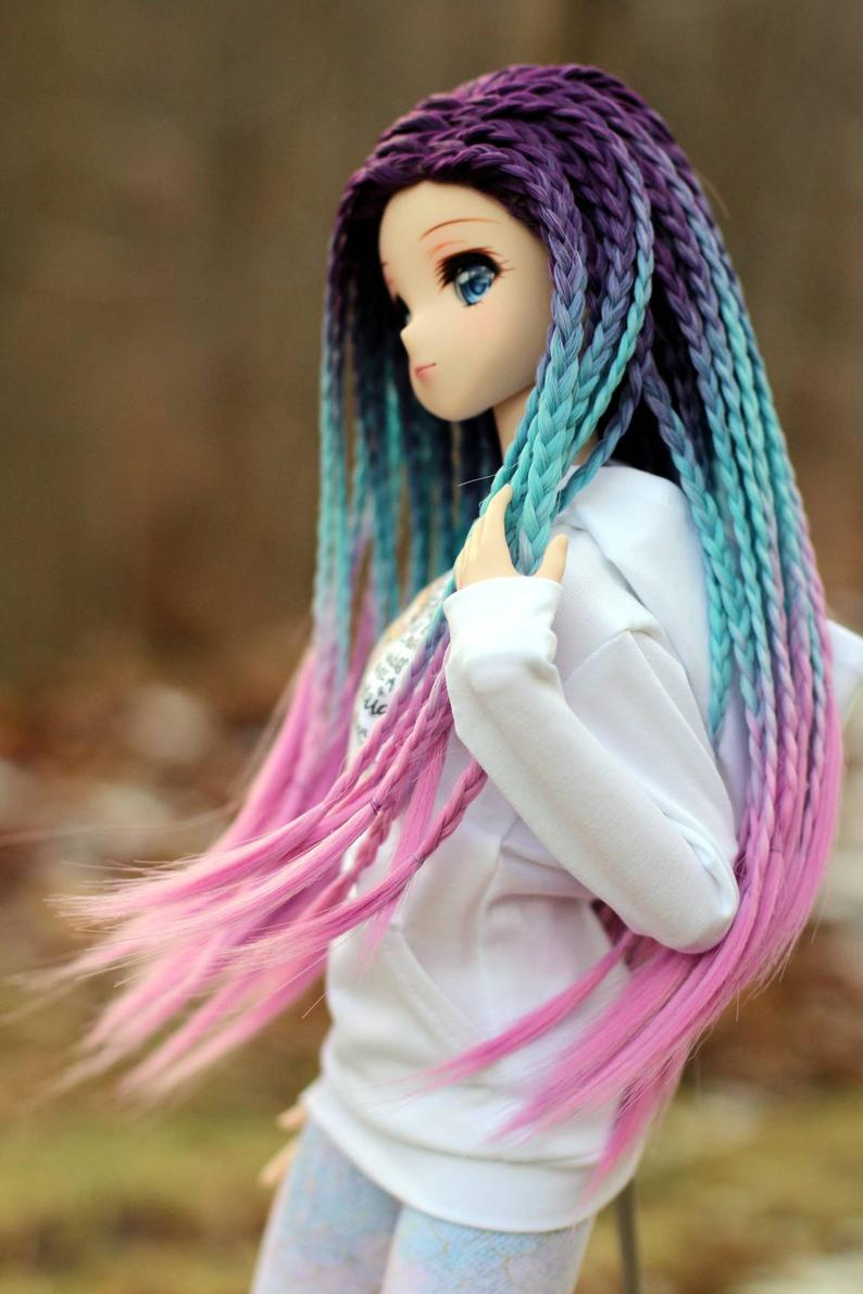 "ZaZou Luxury Unicorn Mood Braids WIG for Smart Doll, Ruby Red Fashion Friends, 18"" MSD BJD Kaye Wiggs"