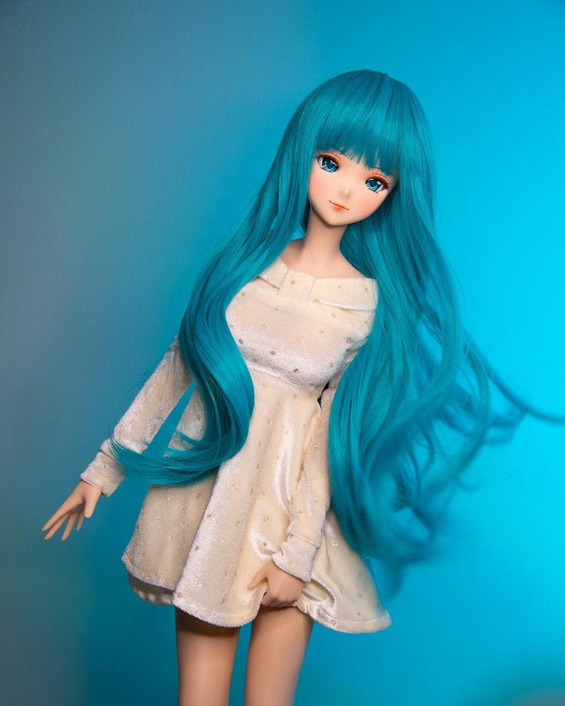 "ZaZou Luxury Cyanne WIG for Smart Doll, Ruby Red Fashion Friends, 18"" MSD BJD Kaye Wiggs"
