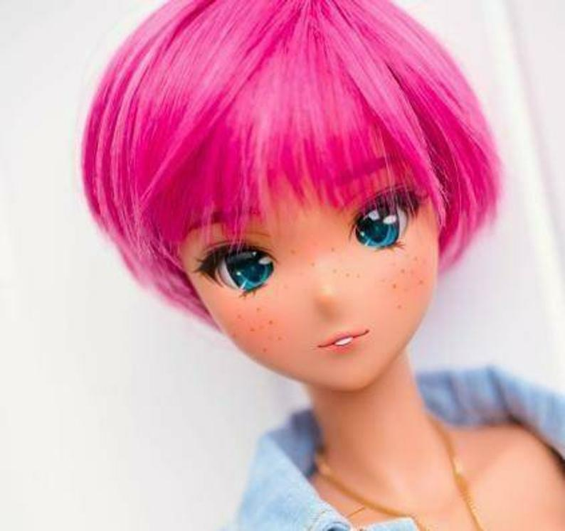 "ZaZou Luxury Persian Rose Pixie WIG for Smart Doll, Ruby Red Fashion Friends, 18"" MSD BJD Kaye Wiggs"