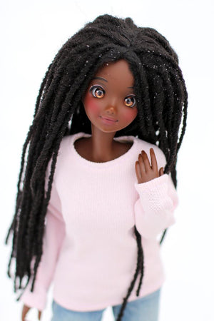 "ZaZou Luxury Ebony Locs WIG for Smart Doll, Ruby Red Fashion Friends, 18"" MSD BJD Kaye Wiggs Pre order"