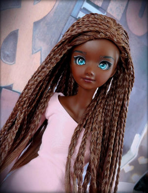 "ZaZou Luxury Brazilian Coffee Braids WIG for Smart Doll, Ruby Red Fashion Friends, 18"" MSD BJD Kaye Wiggs"