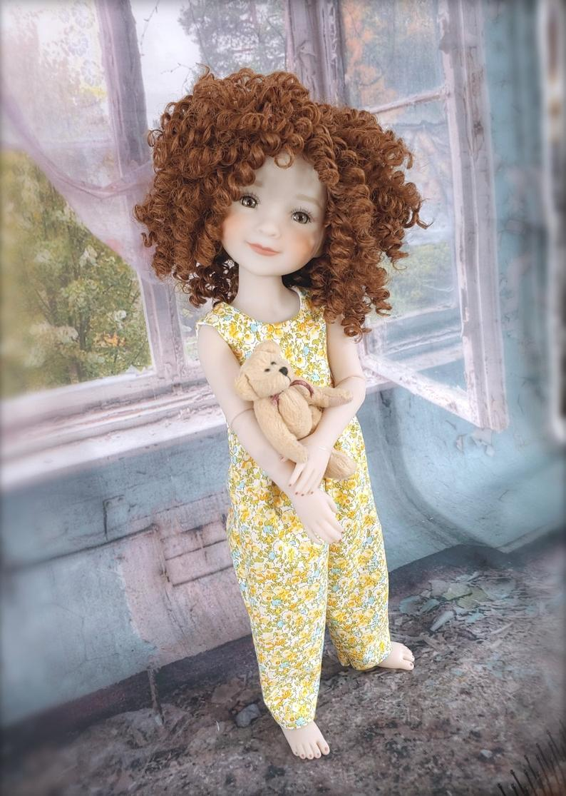"ZaZou Luxury Boho Chic Marmalade WIG for Smart Doll, Ruby Red Fashion Friends, 18"" MSD BJD Kaye Wiggs"