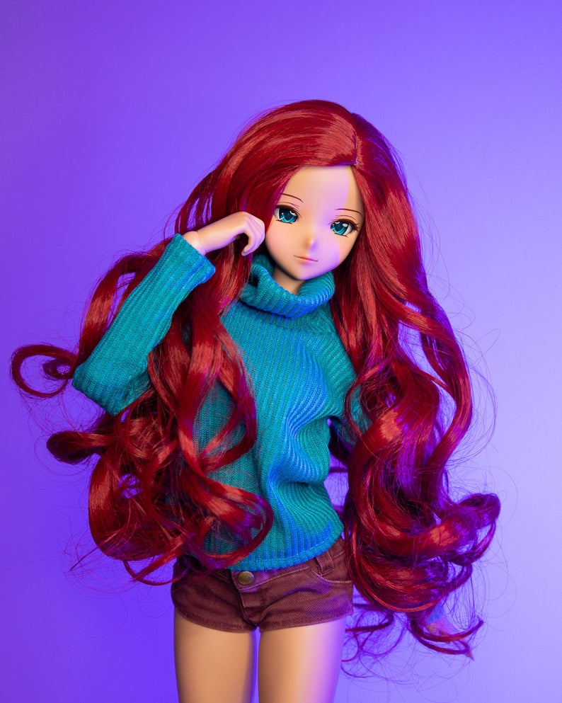 "ZaZou Luxury Rebellious WIG for Smart Doll, Ruby Red Fashion Friends, 18"" MSD BJD Kaye Wiggs"