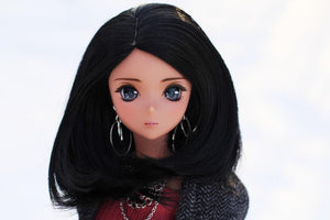 "ZaZou Luxury Raven WIG for Smart Doll, Ruby Red Fashion Friends, 18"" MSD BJD Kaye Wiggs"