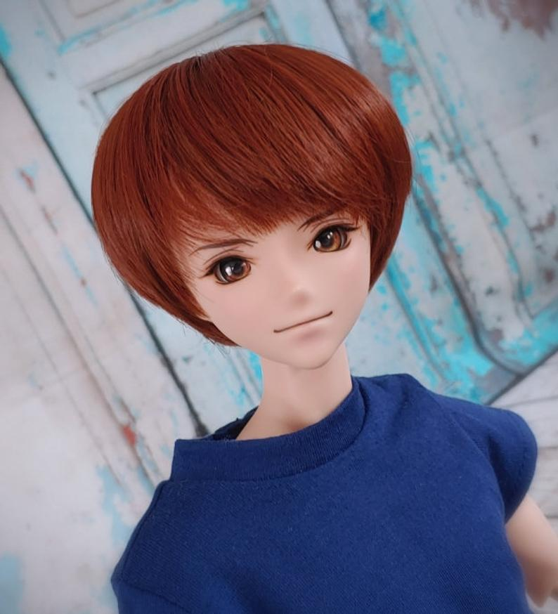 "ZaZou Luxury Red Brick Pixie WIG for Smart Doll, Ruby Red Fashion Friends, 18"" MSD BJD Kaye Wiggs"