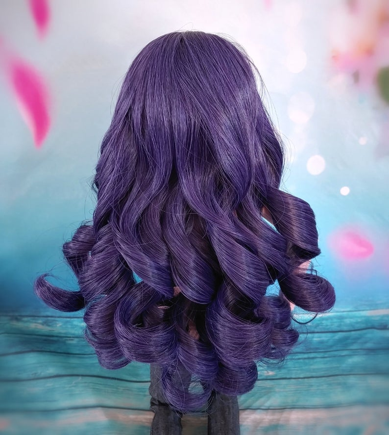 "ZaZou Luxury Purple Rain WIG for Smart Doll, Ruby Red Fashion Friends, 18"" MSD BJD Kaye Wiggs"