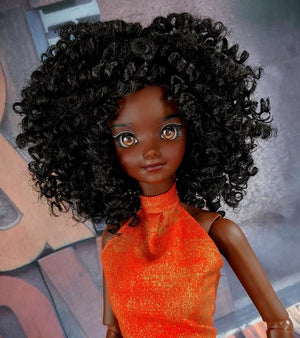 "ZaZou Luxury Boho Chic Alyssa WIG for Smart Doll, Ruby Red Fashion Friends, 18"" MSD BJD Kaye Wiggs"