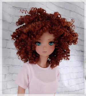"ZaZou Luxury Terra Cotta WIG for Smart Doll, Ruby Red Fashion Friends, 18"" MSD BJD Kaye Wiggs"