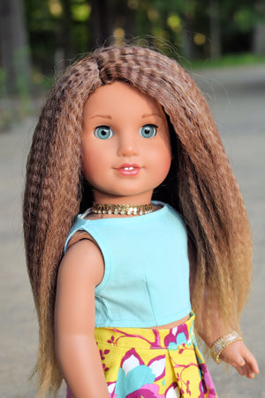Zazou Dolls Exclusive Textured WIG Caramel Mocha for 18 Inch dolls such as OG and American Girl AA!!