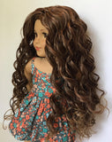 Zazou Dolls Exclusive Beach Waves WIG in Butterscotch Ombre for 18 Inch dolls such as Journey, Our Generation and American Girl