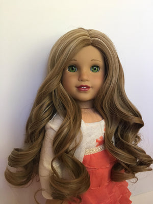 Zazou Dolls Exclusive Lovely WIG Caramel Kiss for 18 Inch dolls such as OG and American Girl