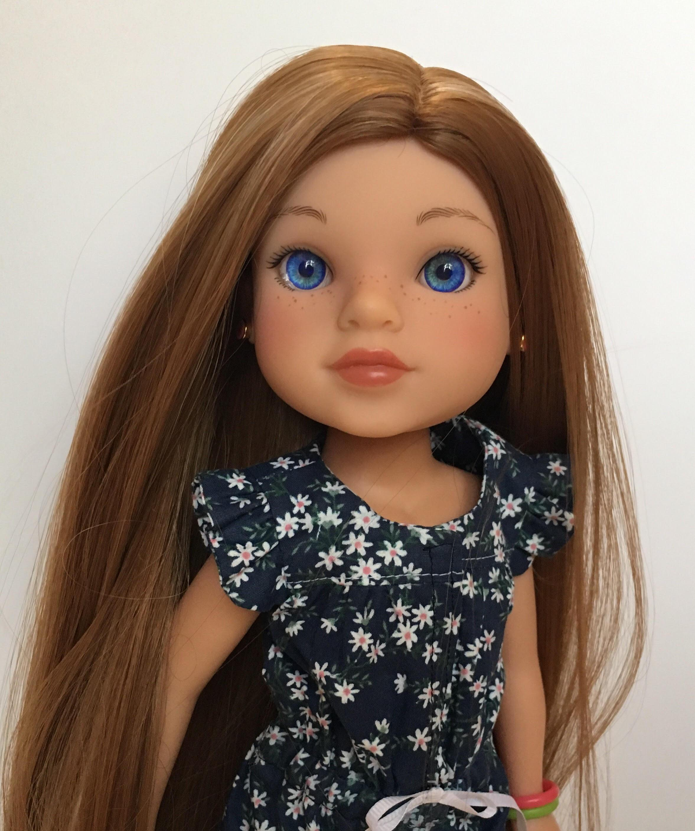 "ZaZou Luxury Petite Wig in Caramel Twirl for 14"" dolls such as Wellie Wishers and H4H"