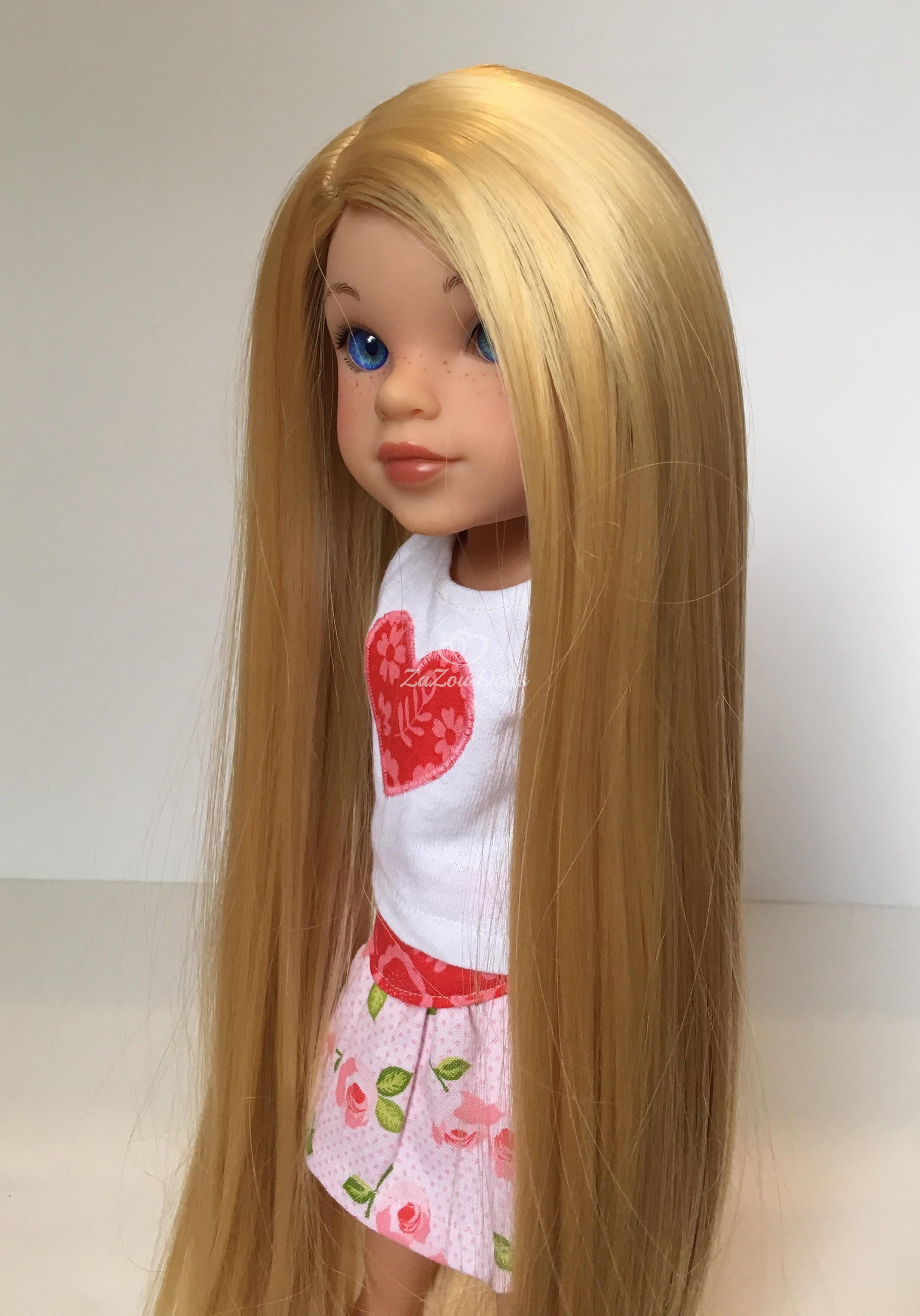 "ZaZou Luxury Petite Wig in Lemon Blonde for 14"" dolls such as Wellie Wishers and Heart4Hearts"