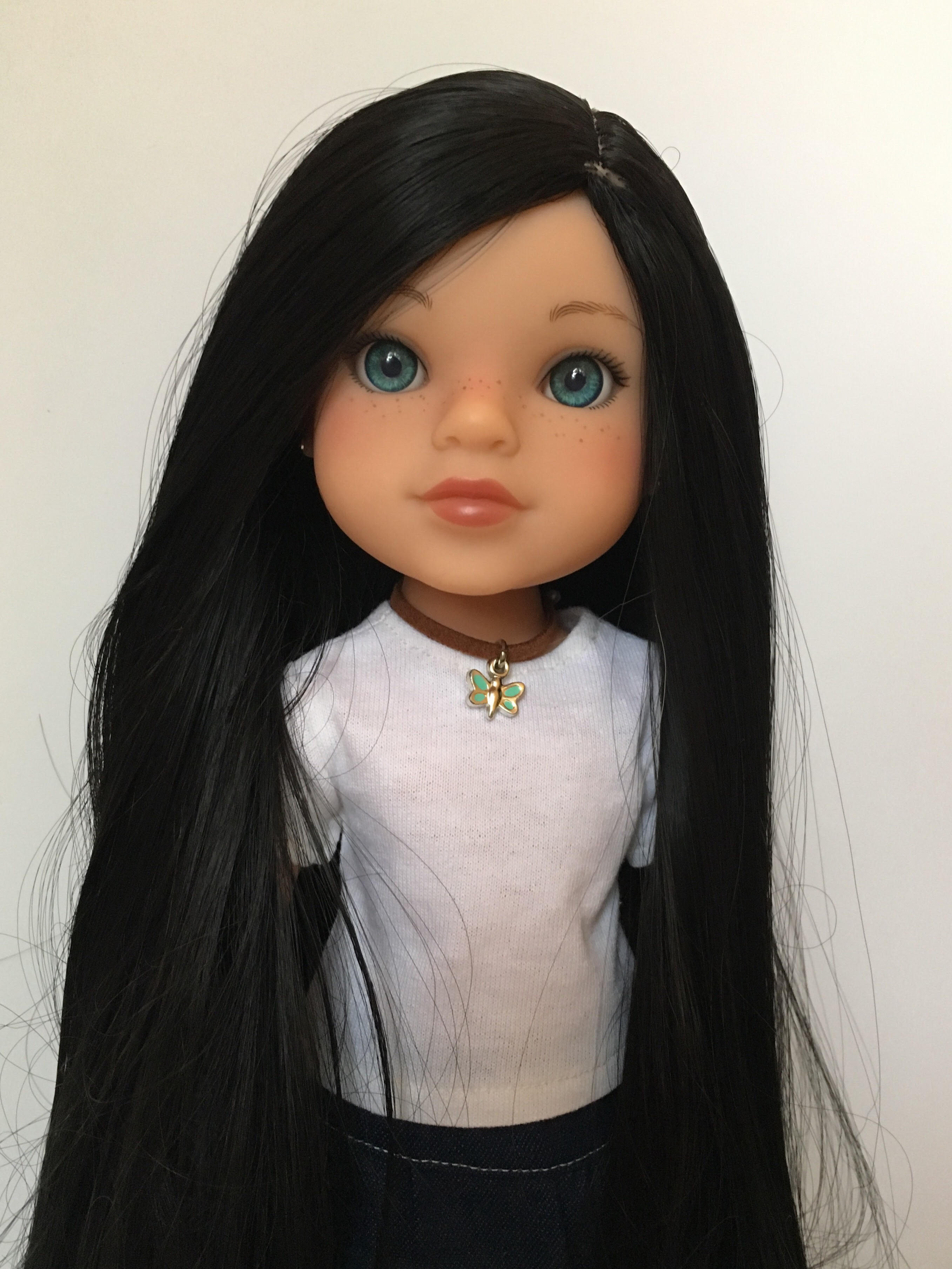 "ZaZou Luxury Petite Wig in Midnight Black for 14"" dolls such as Wellie Wishers and Heart4Hearts"