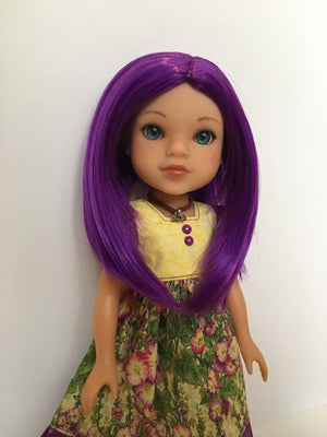 "ZaZou Luxury Petite Wig in Purple Passion for 14"" dolls such as Wellie Wishers and Heart4Hearts"
