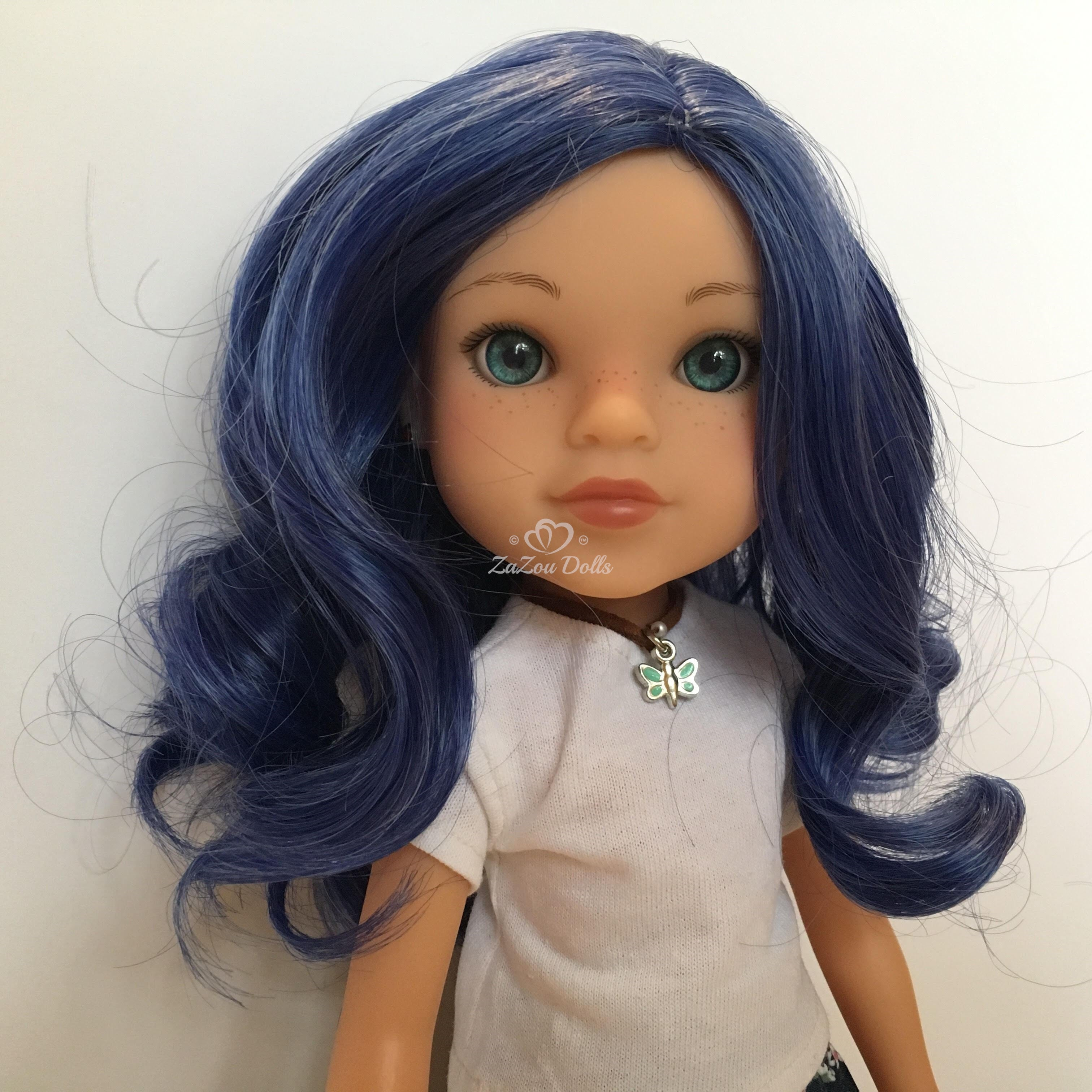 "ZaZou Luxury Petite Wig in Evening Blue for 14"" dolls such as Wellie Wishers and Heart4Hearts"