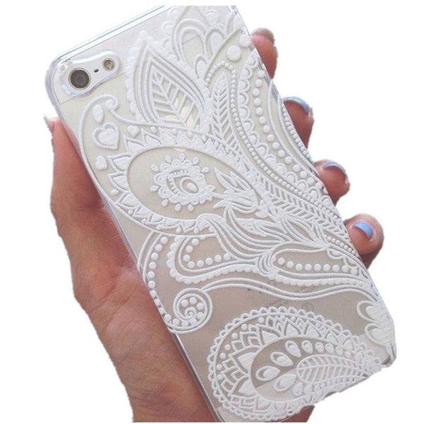 2017 Top Sale White Floral Flower Slim Plastic Hard Cell Phones Case