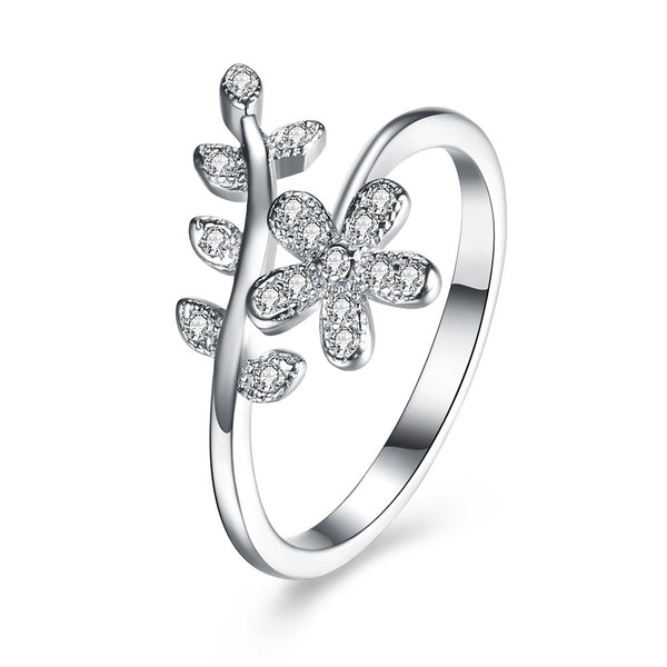 925 Sterling Silver Ring floral stone