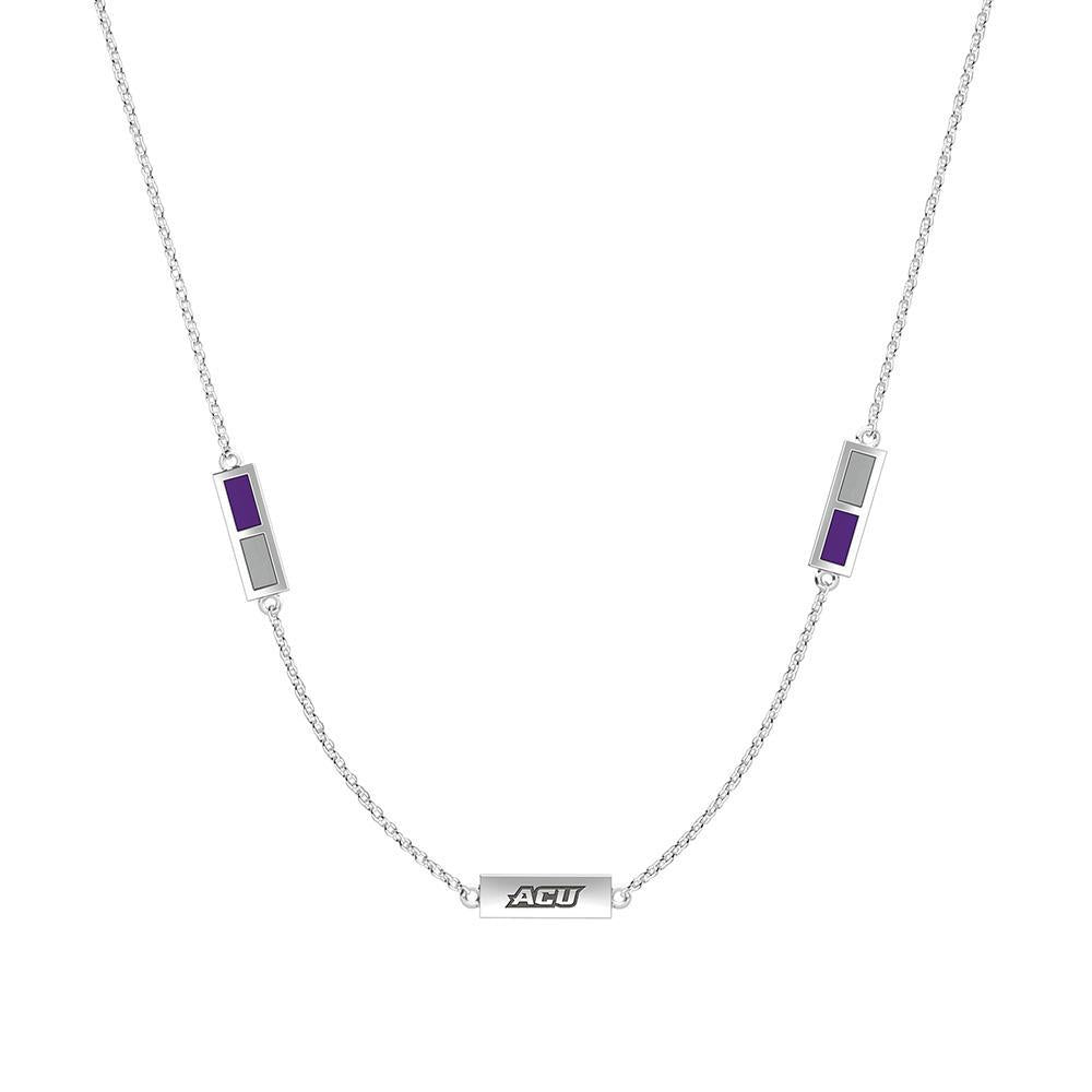 ACU Engraved Triple Station Necklace in Purple and Grey Size 18