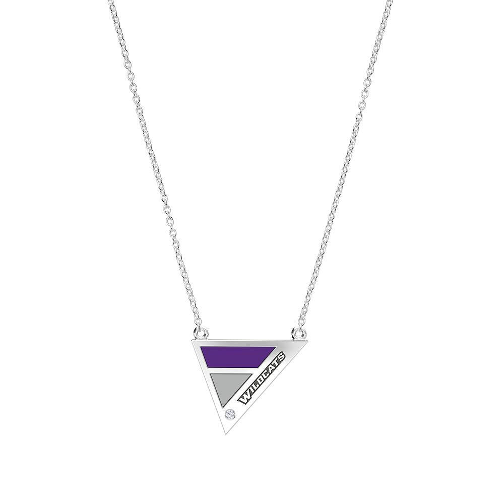 Wildcats Engraved Diamond Geometric Necklace in Purple and Grey Size 16