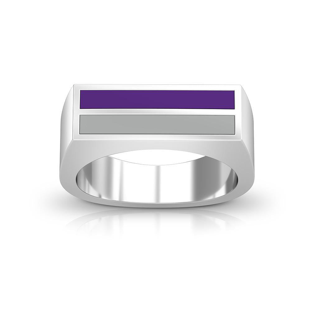 Enamel Ring in Purple and Grey Size 9