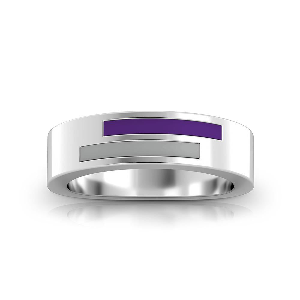 Asymmetric Enamel Ring in Purple and Grey Size 6