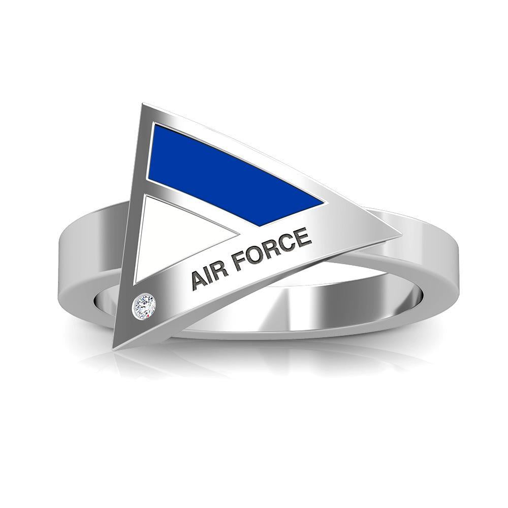 Air Force Academy Diamond Geometric Ring in Sterling Silver